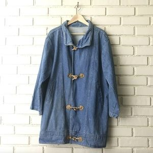 Vintage Denim jean Coat w/ wooden Toggle Buttons M